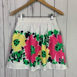 Lilly Pulitzer | white floral elastic waist skirt